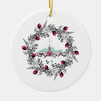 Vintage Winter Scene Red Church and Wreath Christmas Ornament