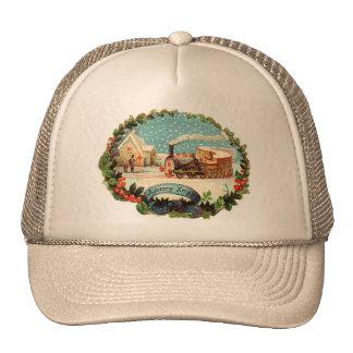 Vintage Winter Scene Train & Station Trucker Hat
