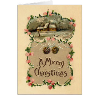 Vintage Winter Scene w/Floral Border Card