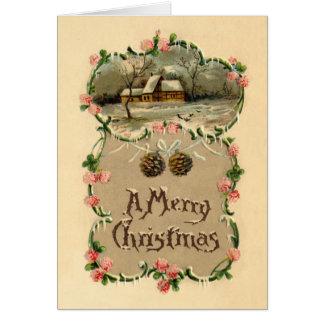 Vintage Winter Scene w/Floral Border Greeting Card
