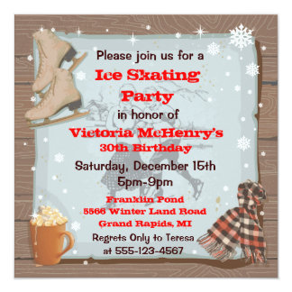 Vintage Winter Skating Party Invitations