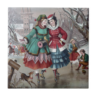 Vintage Winter Skating Scene Tile