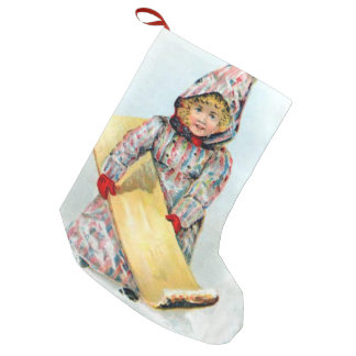 Vintage Winter Sledding Girl Small Christmas Stocking