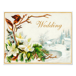 Vintage Winter Snow Church & Lilies Wedding Card