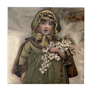 Vintage Winter Snow Girl Tile