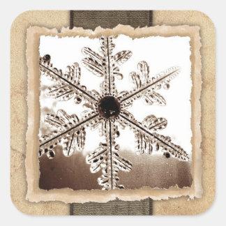 Vintage Winter Snowflake Wedding Envelope Seals Square Sticker