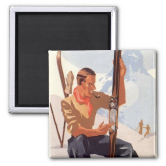 Vintage Winter Sports - Adjusting the skis Square Magnet