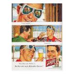 Vintage winter sports, Beer advertisement Postcard