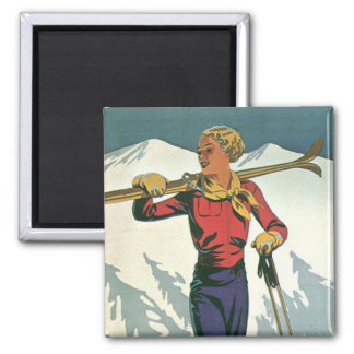 Vintage Winter Sports - Carrying the kit Square Magnet