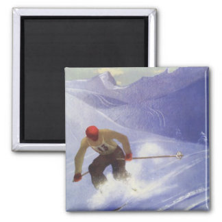 Vintage Winter Sports - Downhill race Square Magnet