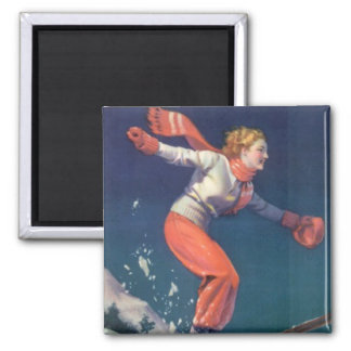 Vintage Winter Sports - Jump to it! Square Magnet