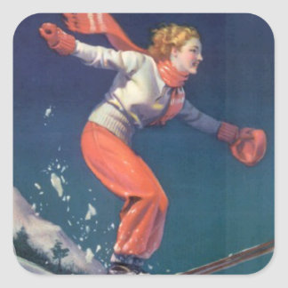 Vintage winter sports - Jumping over the bumps Stickers