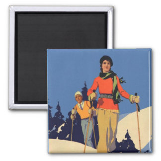 Vintage Winter Sports - Lady on the piste Square Magnet