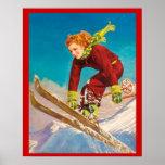 Vintage Winter sports, Lady ski jumper Poster