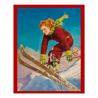 Vintage Winter sports, Lady ski jumper Poster