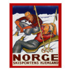 Vintage Winter sports, Norway, Homeland Ski sport Poster