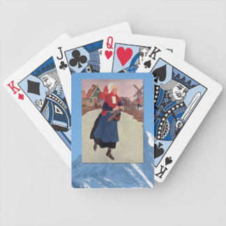 Vintage Winter Sports - Skating on a frozen canal Bicycle Playing Cards