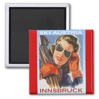 Vintage winter sports, Ski Austria, Innsbruck Square Magnet