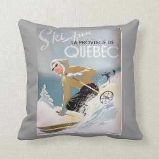 Vintage winter sports,Ski Canada, Quebec Cushion