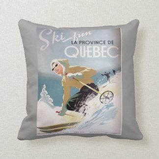 Vintage winter sports,Ski Canada, Quebec Cushion