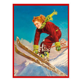 Vintage Winter sports, Ski downhill Postcard