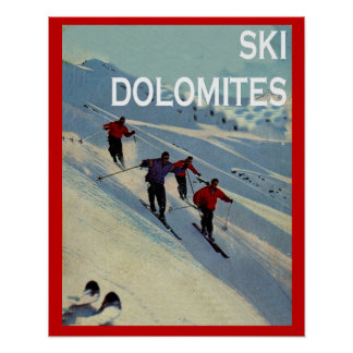 Vintage winter sports Ski Italy, Dolomites Poster