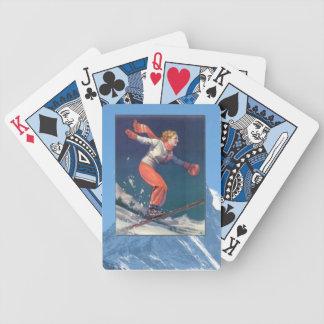 Vintage Winter Sports - Ski jump Bicycle Playing Cards
