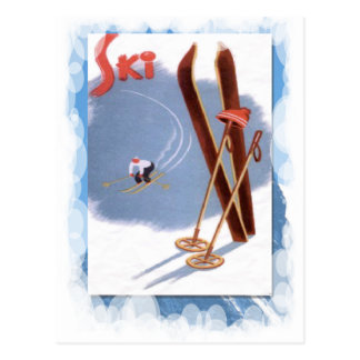 Vintage Winter Sports - Ski kit Postcard