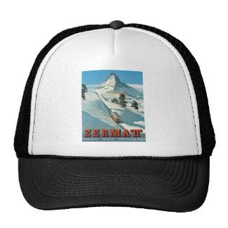 Vintage winter sports, ski poster cap