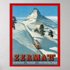 Vintage  Winter Sports, Ski Switzerland, Zermatt Poster