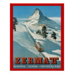 Vintage  Winter Sports, Ski Switzerland, Zermatt Poster