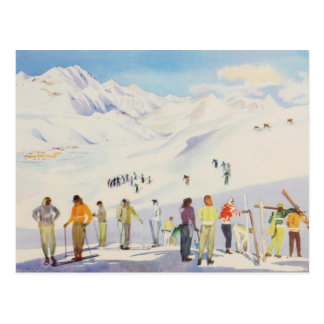 Vintage winter  sports, skiers  on the pistes postcard