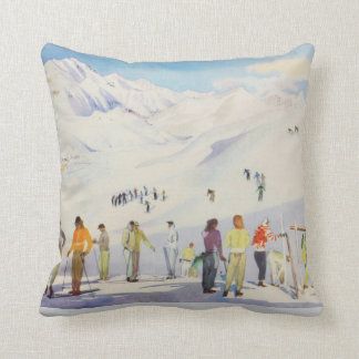 Vintage winter  sports, skiers  on the pistes throw pillow