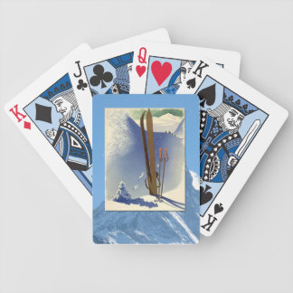 Vintage Winter Sports - Skis and slopes Bicycle Playing Cards