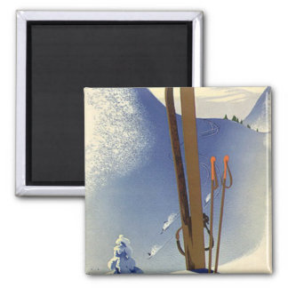 Vintage Winter Sports - Skis and slopes Square Magnet