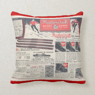 Vintage winter sports, skiwear advertisement throw pillow