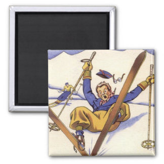 Vintage Winter Sports - Tumble time Square Magnet