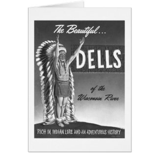 Vintage Wisconsin Dells 'Chief' Ad Art Kitsch Greeting Card