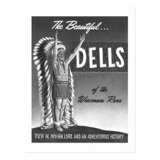 Vintage Wisconsin Dells 'Chief' Ad Art Kitsch Postcard