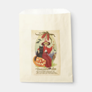 Vintage Witch and Black Cat Halloween Favour Bags