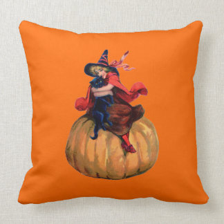 Vintage Witch and Black Cat Throw Pillow Throw Cushions