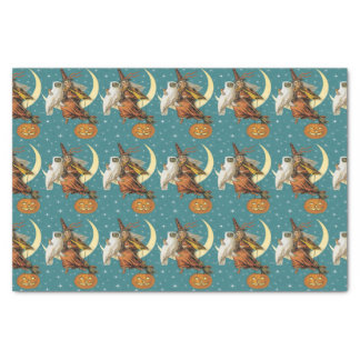 Vintage Witch And Owl On The Moon Tissue Paper