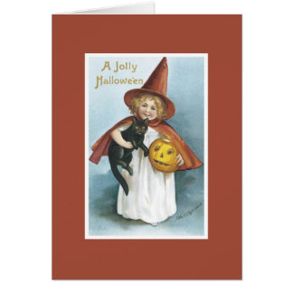 Vintage Witch Black Cat Halloween Card