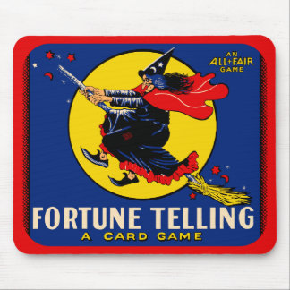 Vintage Witch Fortune Telling Card Game Design Mouse Pad