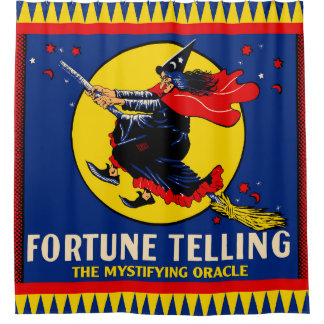 Vintage Witch Fortune Telling Mystifying Oracle Shower Curtain