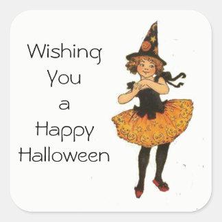 Vintage Witch Girl Halloween Sticker