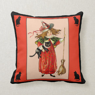 Vintage Witch Girl with Black Kitty Pillow
