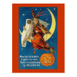 Vintage Witch Halloween Designs Postcard
