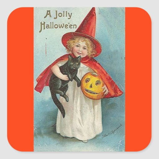Vintage Witch Halloween Designs Square Stickers