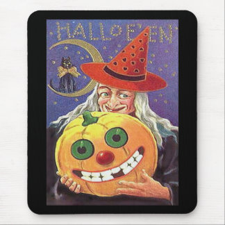 Vintage Witch Halloween Mousepads